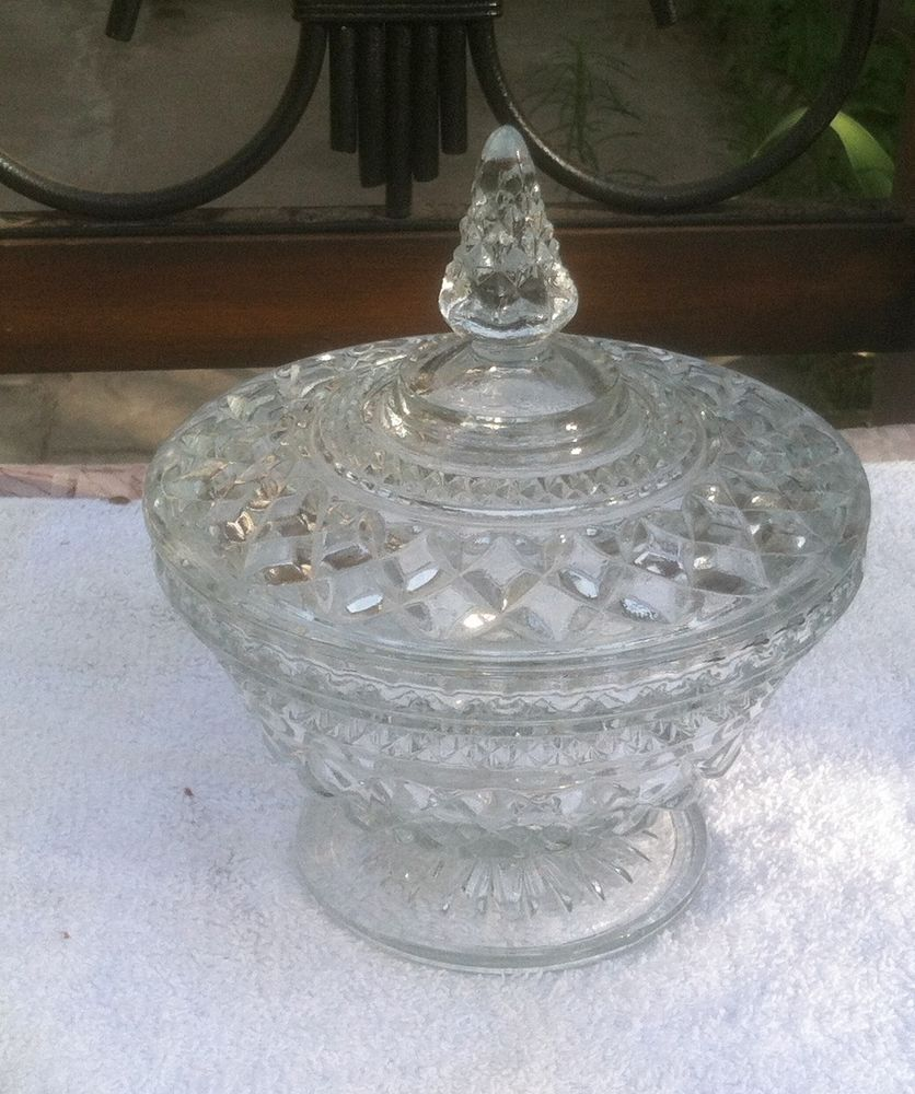 """Clear Glass Covered Candy Dish Pedestal Base 6 1/2"""" Diameter 8 Inches High #unknown"""