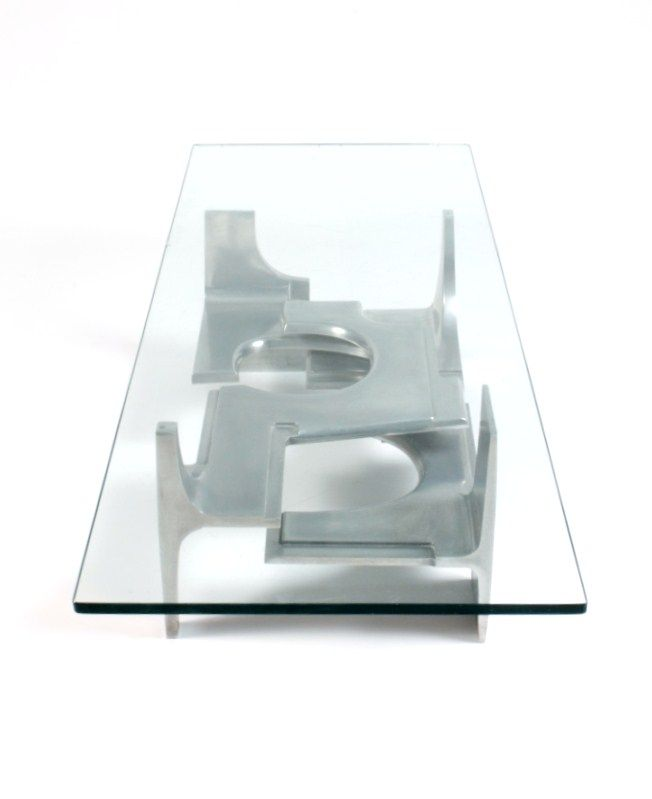 Gérard Mannoni; Cast Aluminum and Glass Coffee Table, 1973.