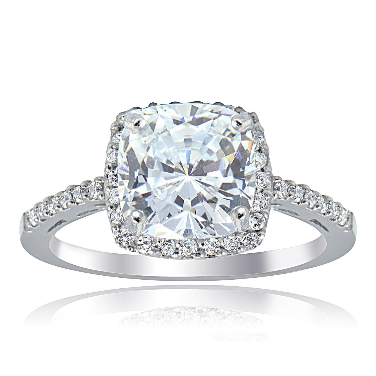 Icz Stonez Sterling Square-cut Cubic Zirconia Engagement-style Ring