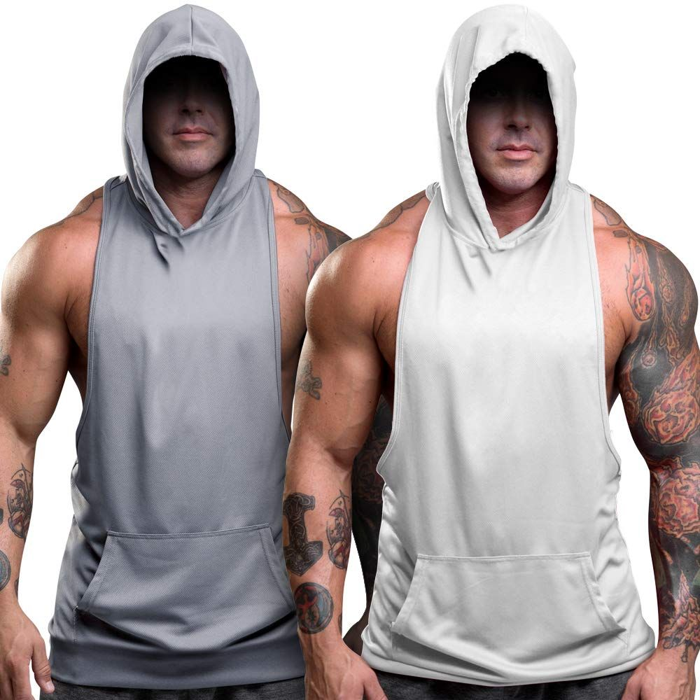 Mens Hoodie Vest Muscle Tee Sleeveless Gym Bodybuilding Tank Tops T-Shirt Blouse