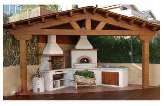 Churrasquera patios en 2019 dise o de asadores for Jardin al aire libre de madera deco