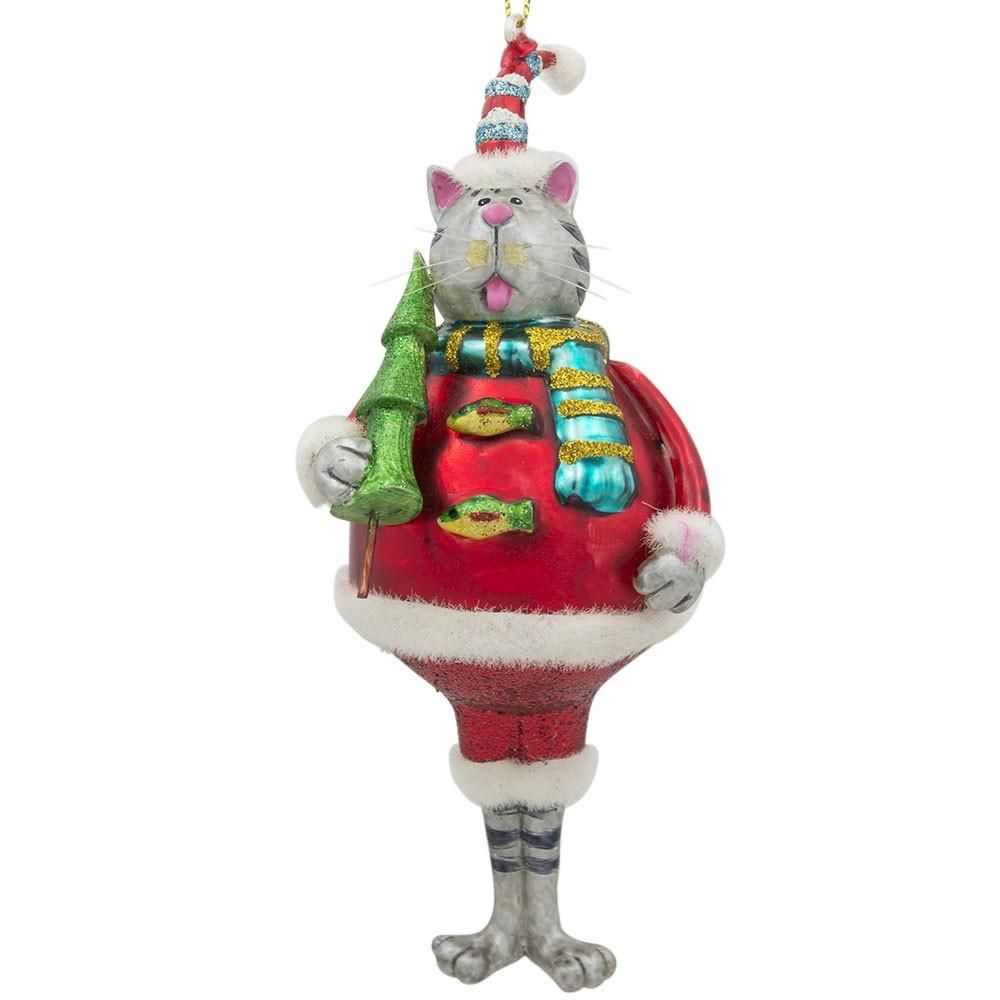 Santa in a Convertible Car full of Gifts Glass Christmas Ornament 3.6 Inches