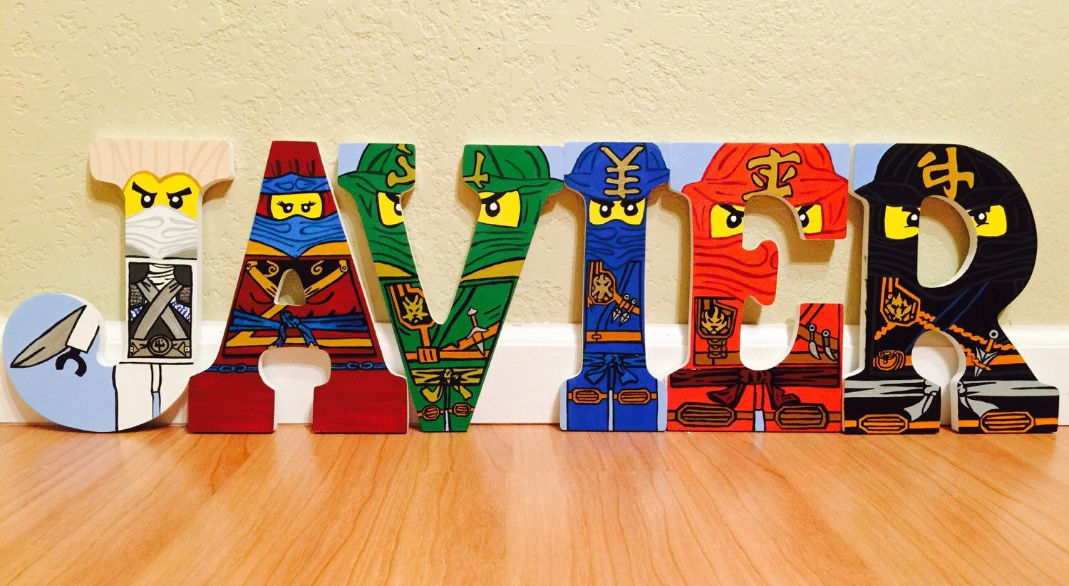 Lego Ninjago letter art. Hand painted wood letters. Kids