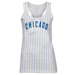 Chicago Cubs 5th & Ocean by New Era Women's Opening Night Pinstripe II Tank Top - White