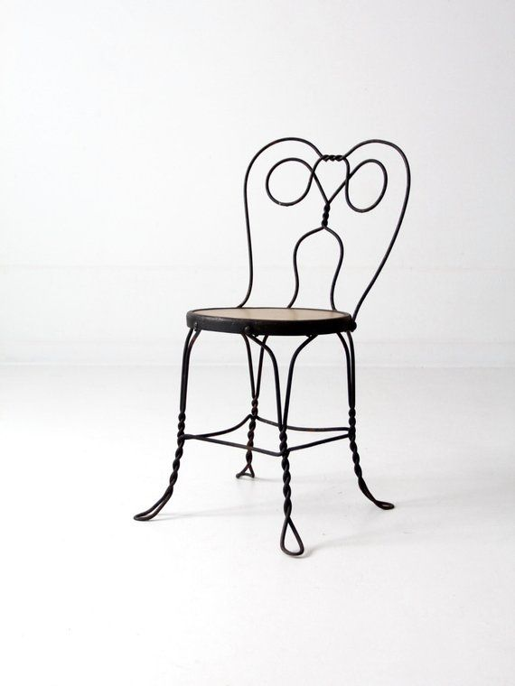 Metal Bistro Chairs Medicine Ball Chair Vintage Ice Cream Parlor Black Iron Cafe