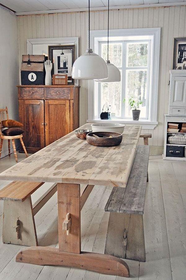 Estas mesas de madera, que tradicionalmente se ven en exteriores