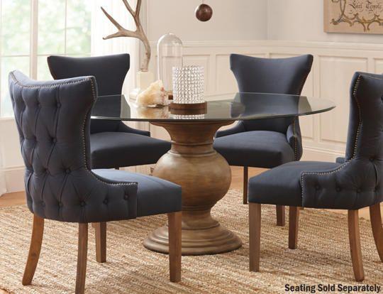 60 Glass Top Table W Urn Base Art Van Furniture 60 Glass