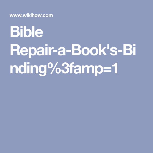 Repair A Book's Binding