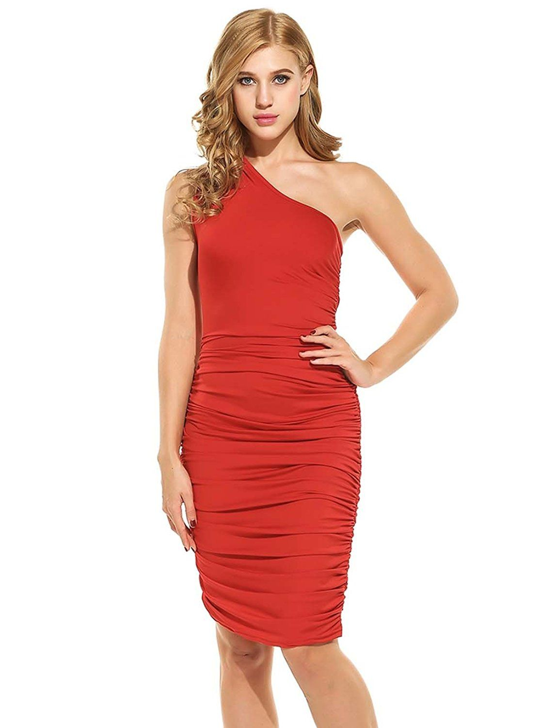 a5160d00bff Amazon.com: Women Casual One Shoulder Stretch Ruched Bodycon Cocktail Party  Club Midi Dress: Clothing