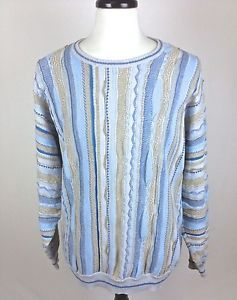Norm Thompson Sweater Bill Cosby Blue Textured Knit 3D Luxury Mens 2XL XXL    eBay