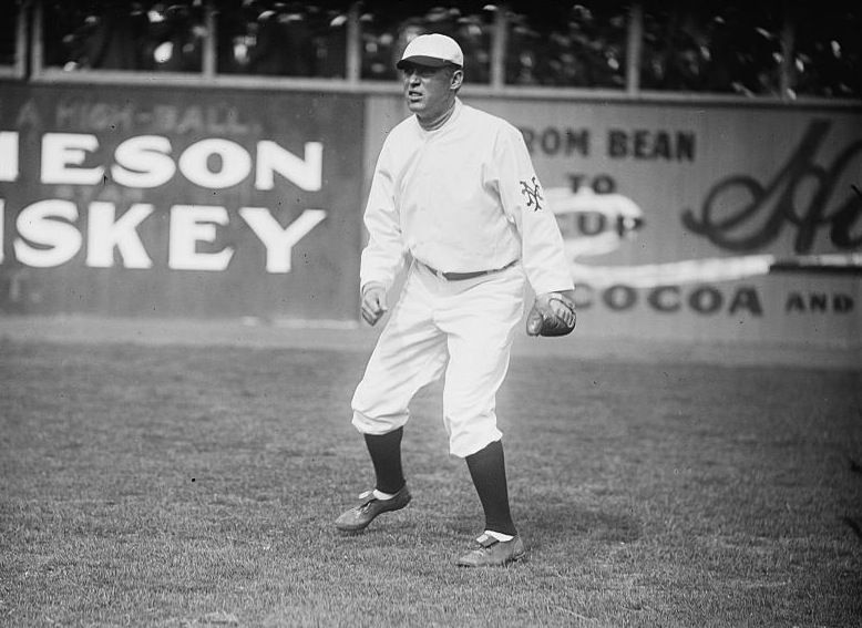 OUTFIELDER: Ben Meyers, ball player for N.Y. Nationals (Giants), on playing field. 1909