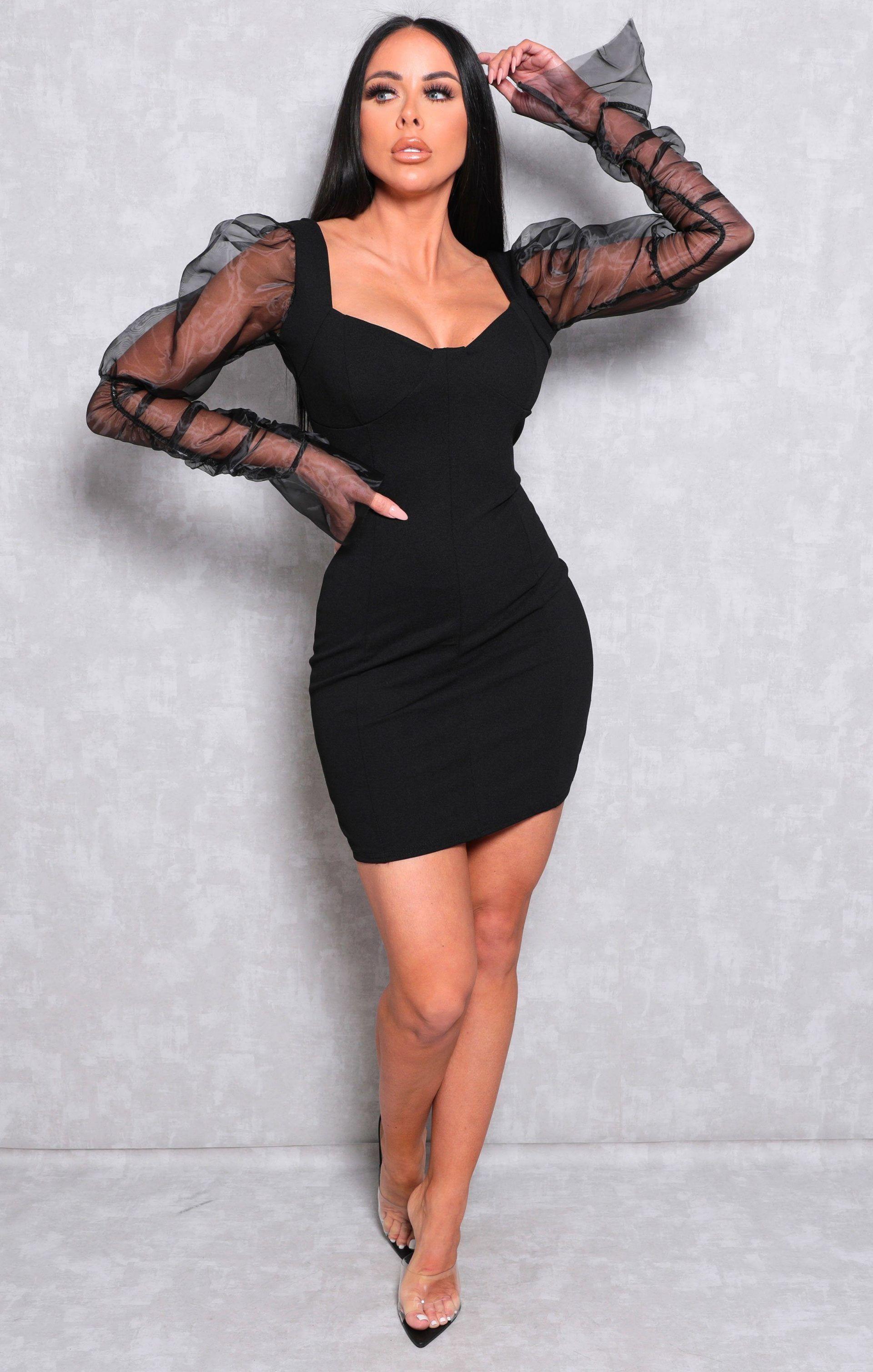 Black Organza Mesh Sleeve Bodycon Mini Dress Theresa Mesh Sleeved Dress Black Dresses Classy Fancy Bodycon Dress [ 3017 x 1920 Pixel ]