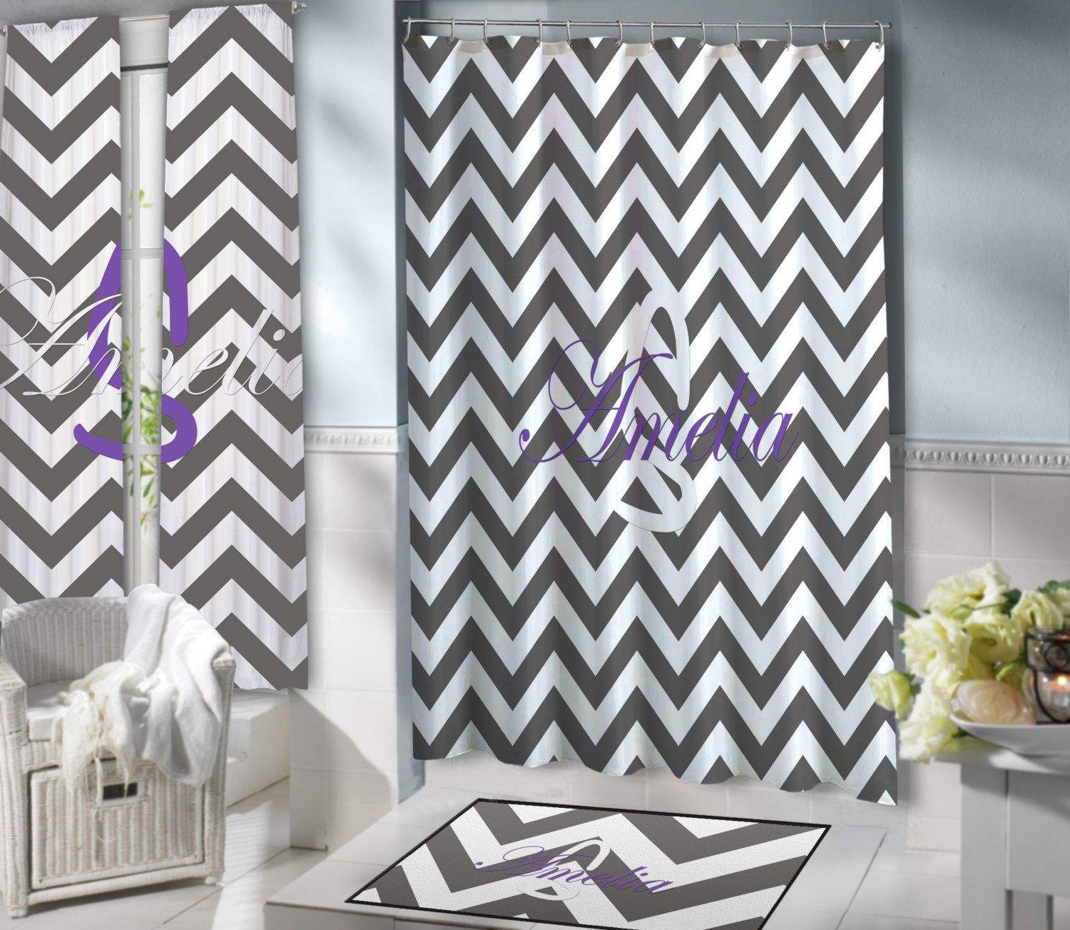 Gray and White Chevron shower curtain, Purple Extra Long Shower ...