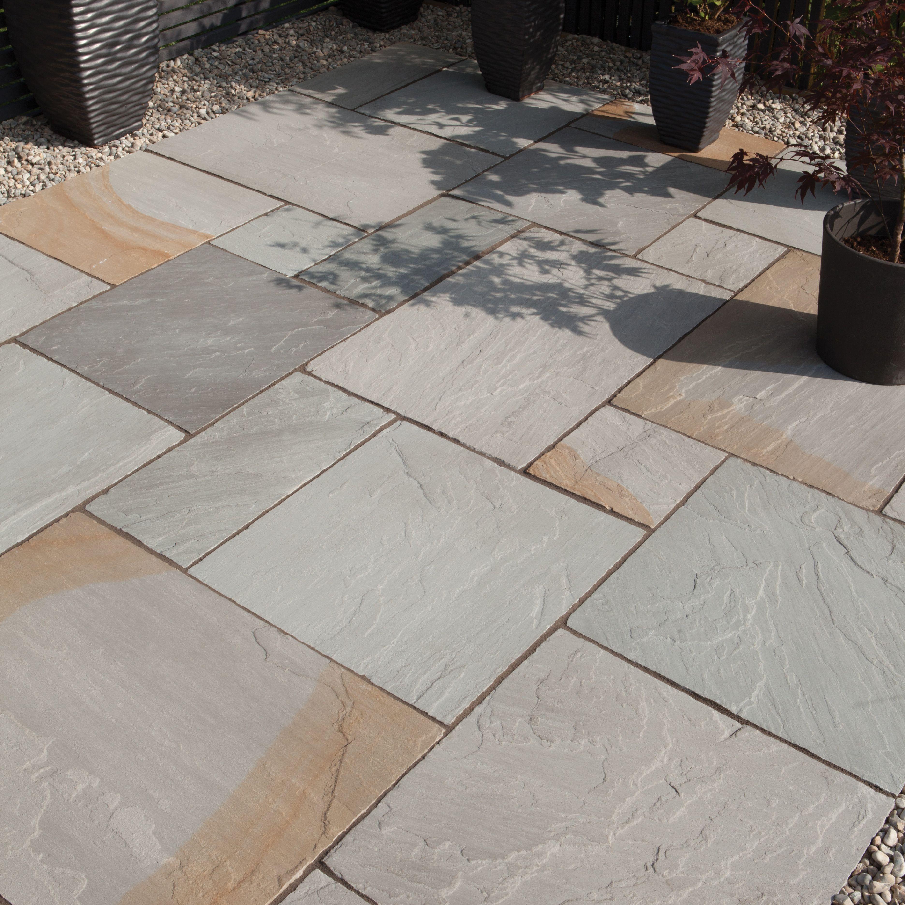 Natural Travertine Mosaic Tile L 300mm W 300mm: BRADSTONE Grey Blend Natural Sandstone Single Paving Slab