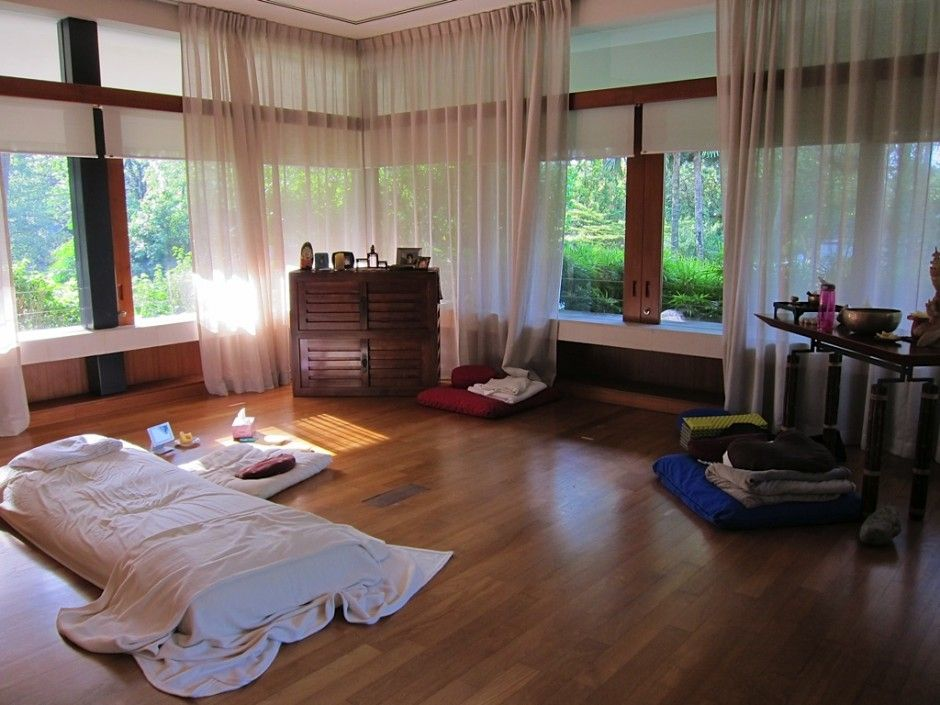 Meditation Room With Curtains To Provide Shade And Privacy