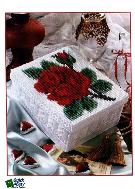 Romantic Rose Box Plastic Canvas Stitches Plastic