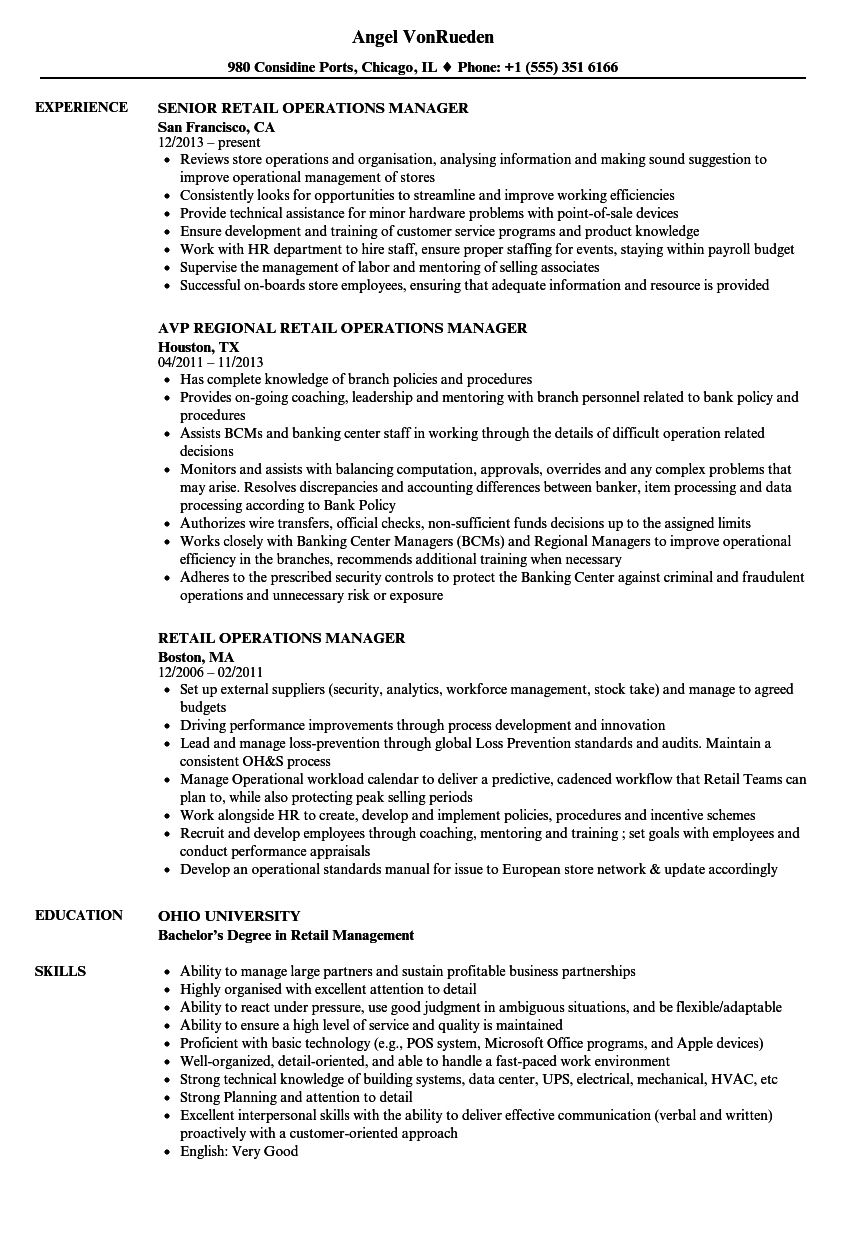 Retail Operations Manager Resume Samples nel 2020 (con