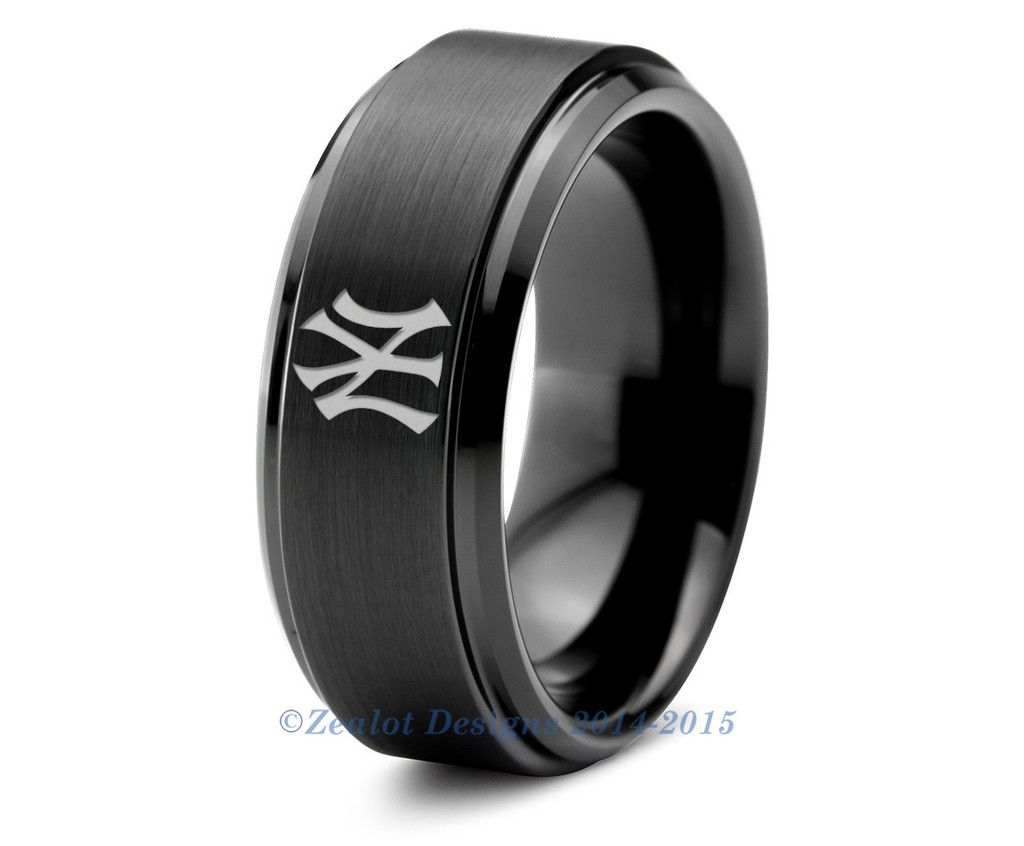 New York Yankees Black Step Bevel Tungsten Ring Wedding BandsWedding