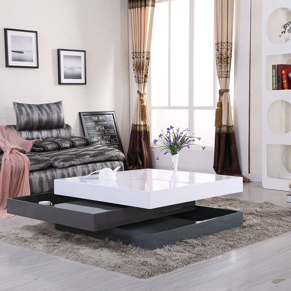 HIGH GLOSS WHITE & GRAY SQUARE STORAGE ROTATABLE COFFEE TABLE WITH 3 ...