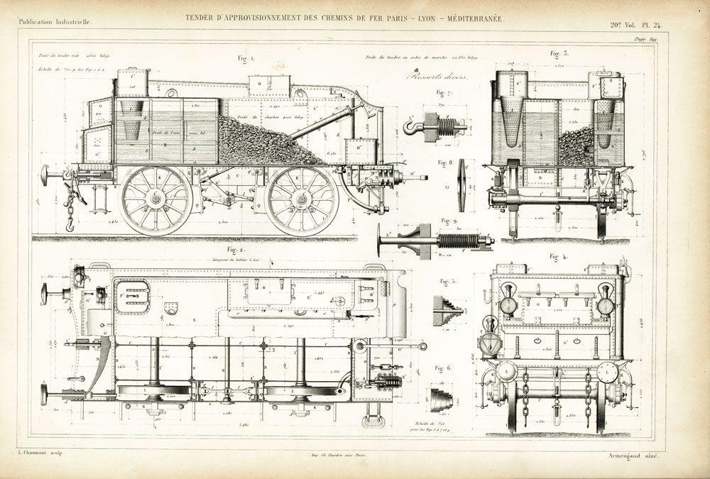1835 Wagon Voiture Chemin De Fer Du Nord Plan Dessin