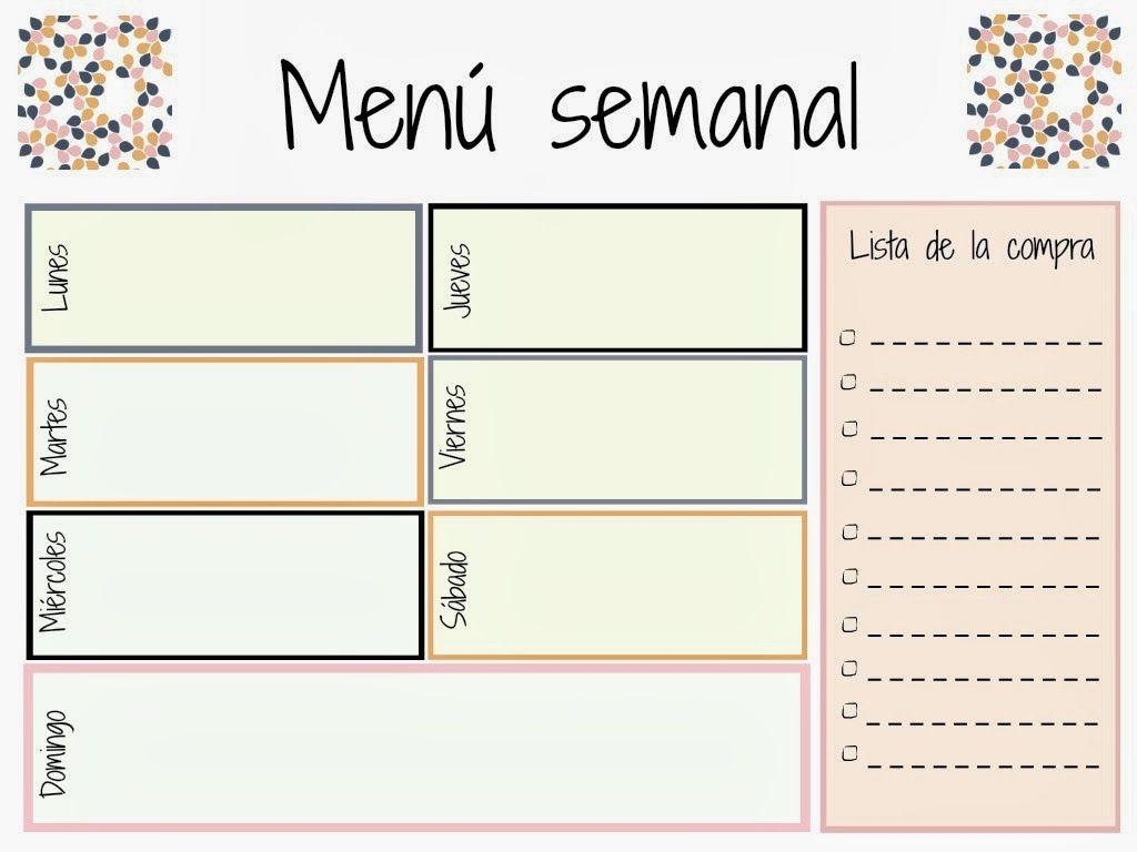 Plantilla men semanal printables pinterest planners for Dieta familiar y planificacion de menus diarios y semanales