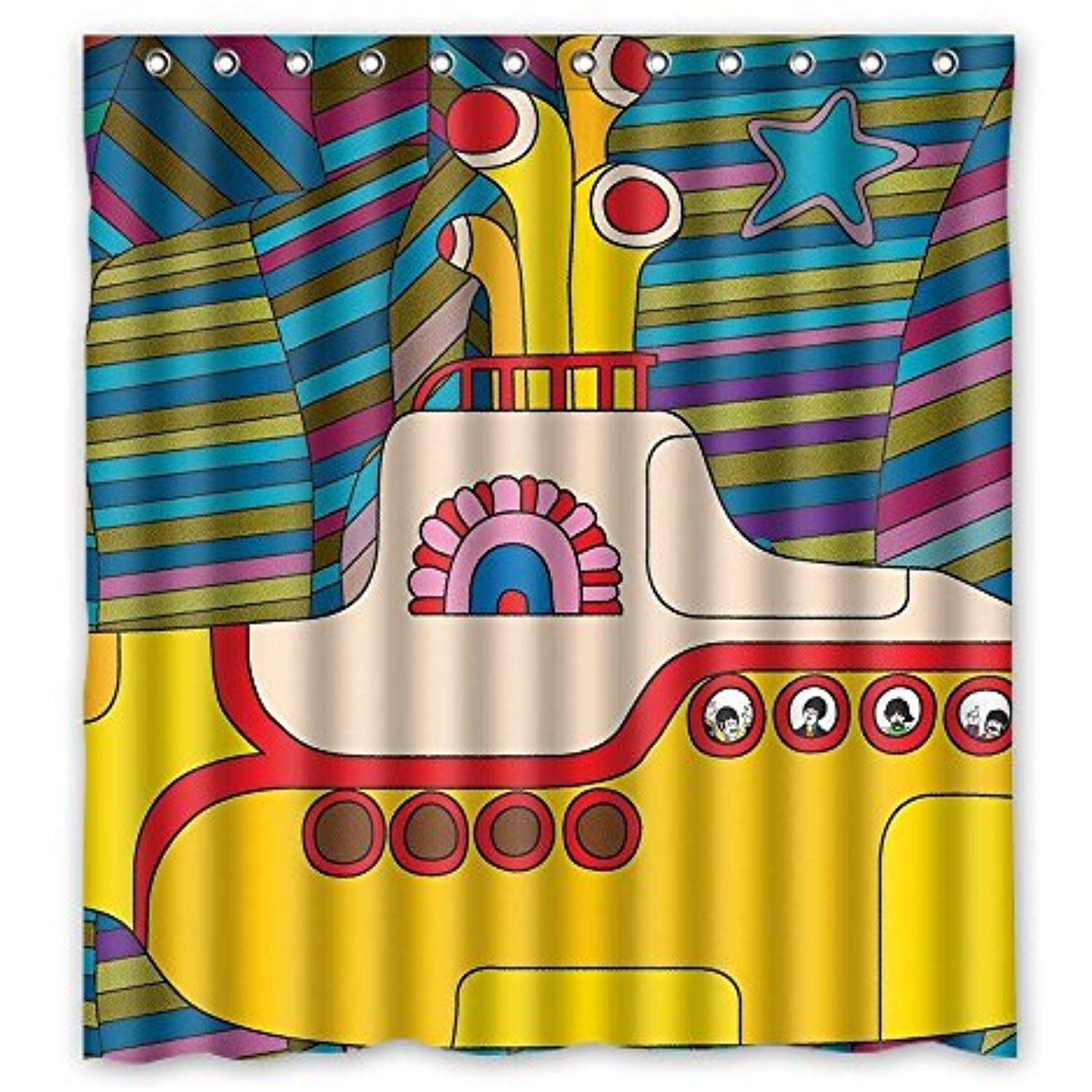 Yellow Submarine Funny Art Decor Shower Curtain 60x72 Inch Check Out The Image By Visit Shower Curtain Polyester Shower Curtain Sizes Colorful Shower Curtain