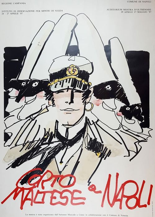 Hugo Pratt Affisso Corto Maltese A Napoli 1987 W B Maltezer Stripboeken Poster