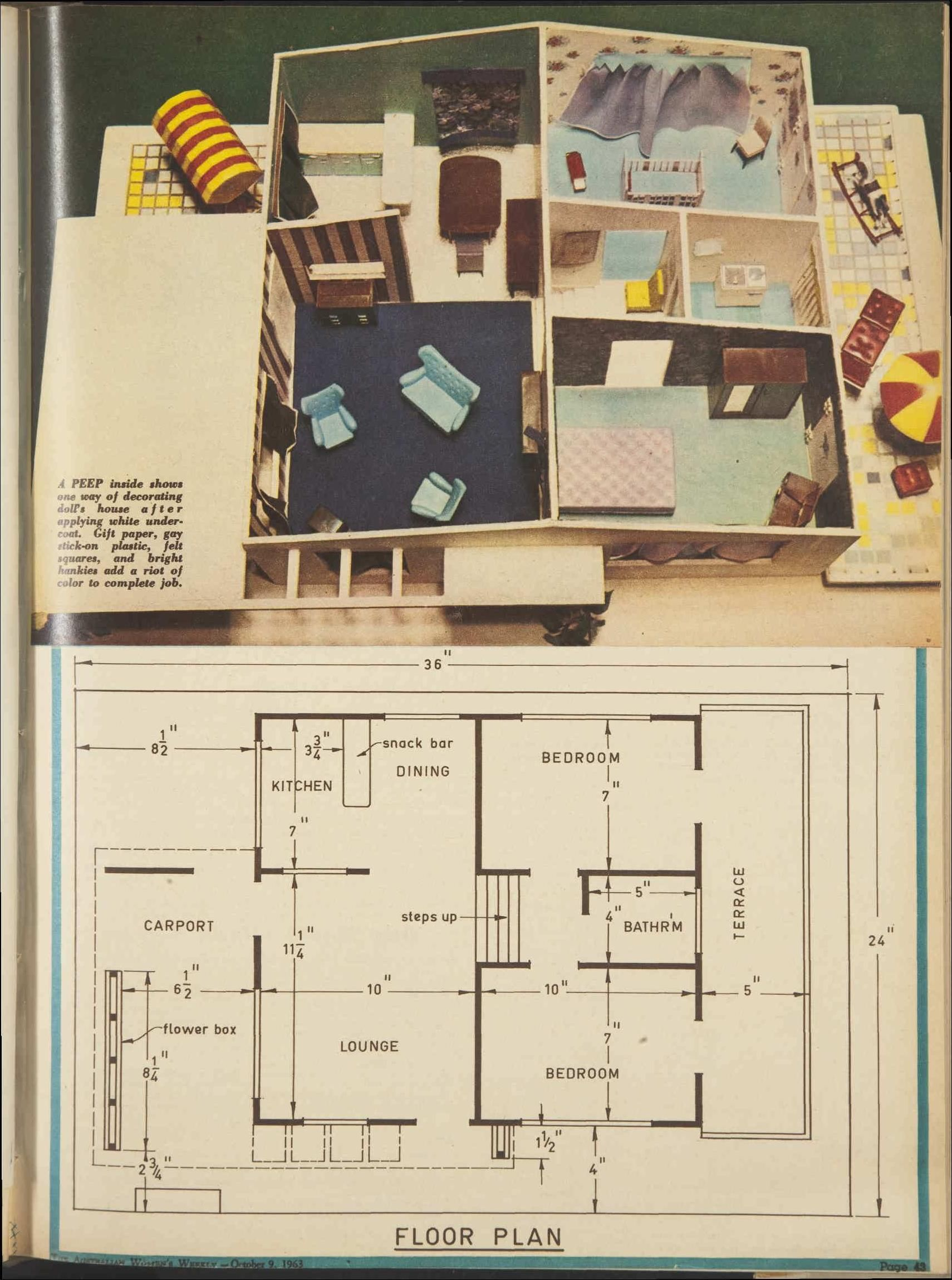 Plans for a split level 1960s doll 39 s house 9 oct 1963 for Split level house plans 1960s