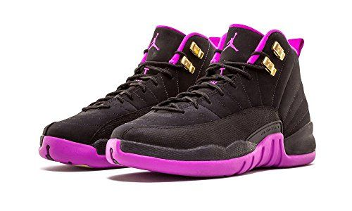 0730aba8fb0 Girls Air Jordan 12 Retro GG Black/Metallic Gold Star-Hyper Violet Suede