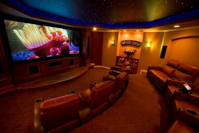 Fiber optic star ceiling in a home theater. Yes. | Home ...