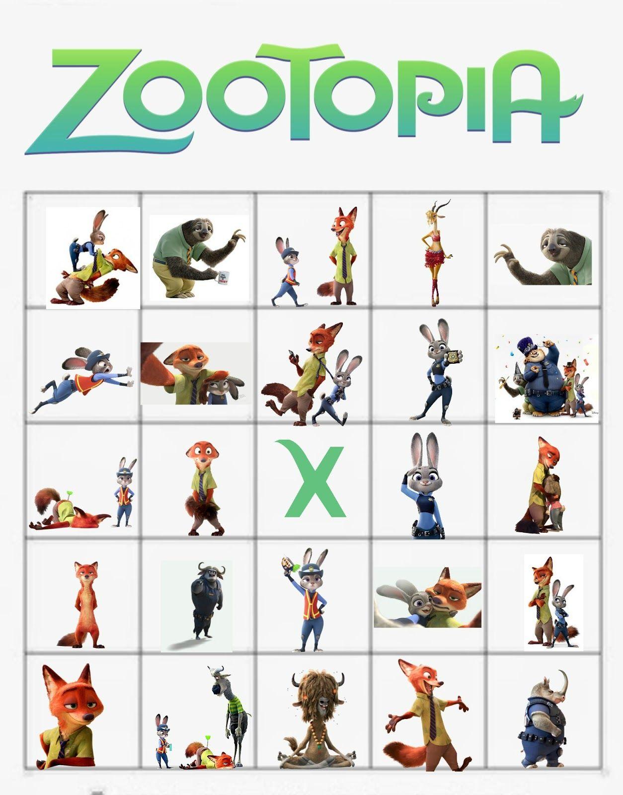 Zootopia Bingo Cards
