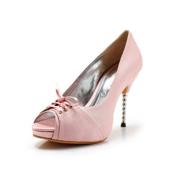 High Quality Items Similar To Cherish Pink Wedding Shoes With Front Corset, Baby Bridal  Shoes, Light Pink Wedding Heels With Steel Heel On Etsy