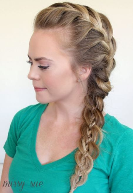 30 Elegant French Braid Hairstyles   Plait hairstyles  French braid     Side Franz    sisch Braid zu Four Strand Braid
