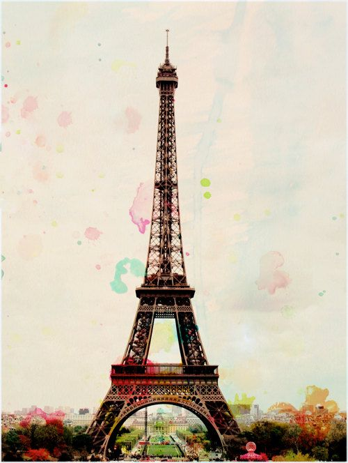 Aquarelle Paris Eiffel Tower Photography Art Print Eiffel