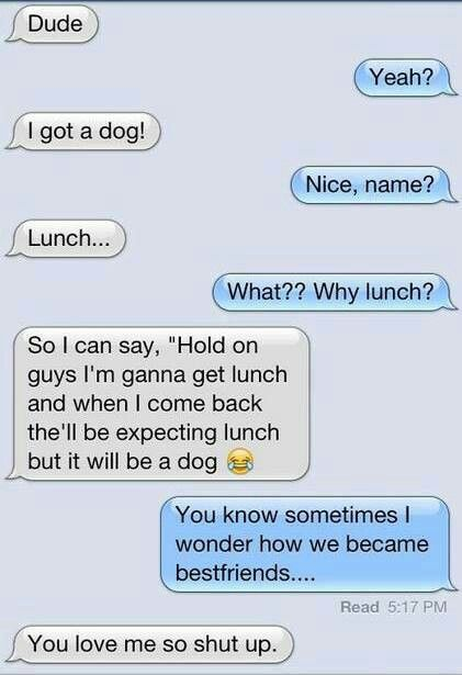this is me getting the dog and my best friend  responding!                                                                                                                                               (Best Friend Texts)