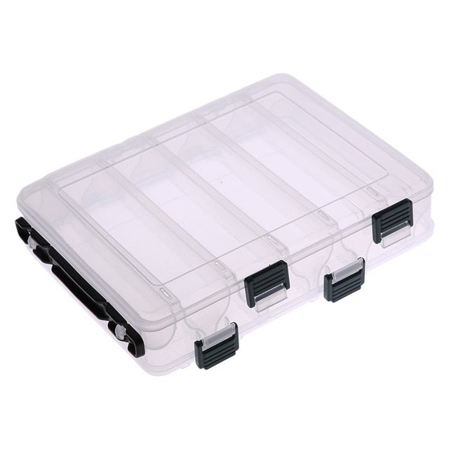 14 Compartments Fish Lures Hard Plastic Cases 2 Sided Spinner Tackle Box Sports & Entertainment