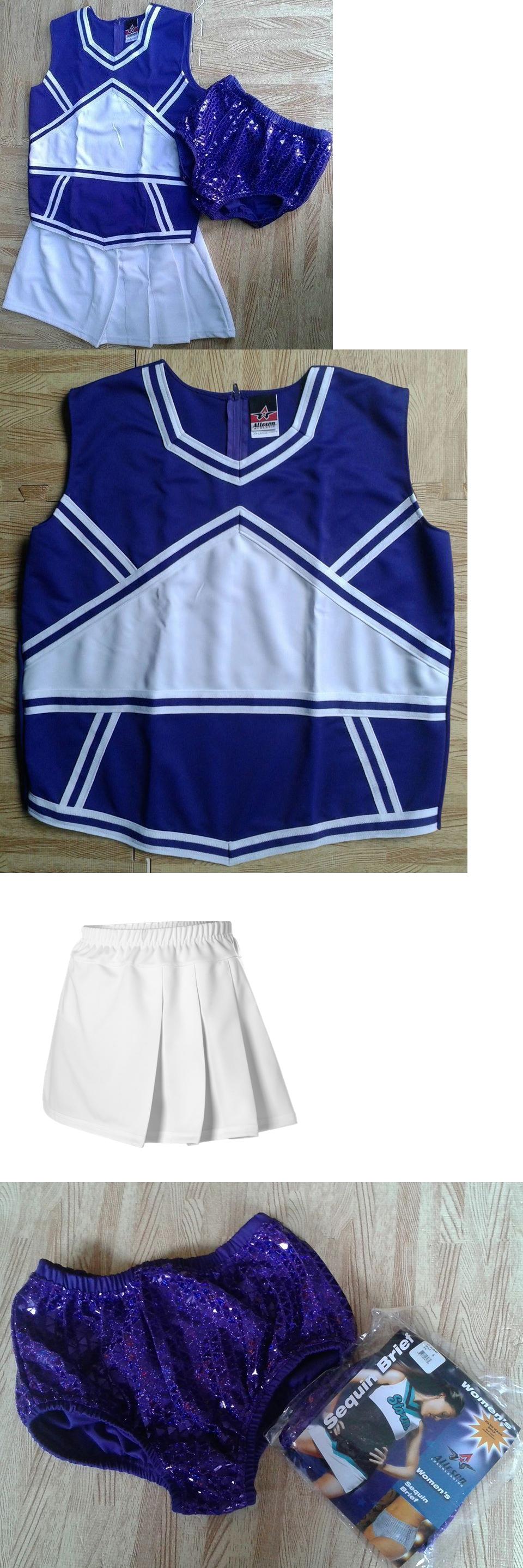 488c98f7a56 Cheerleading 66832  Fun! Purple Adult L 12 14 Real Cheerleader Uniform Top  Skirt Sequin