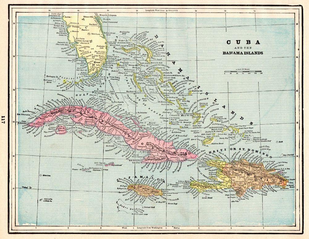 1892 Antique Map Of Cuba Bahamas Map Jamaica Map Collector Gift