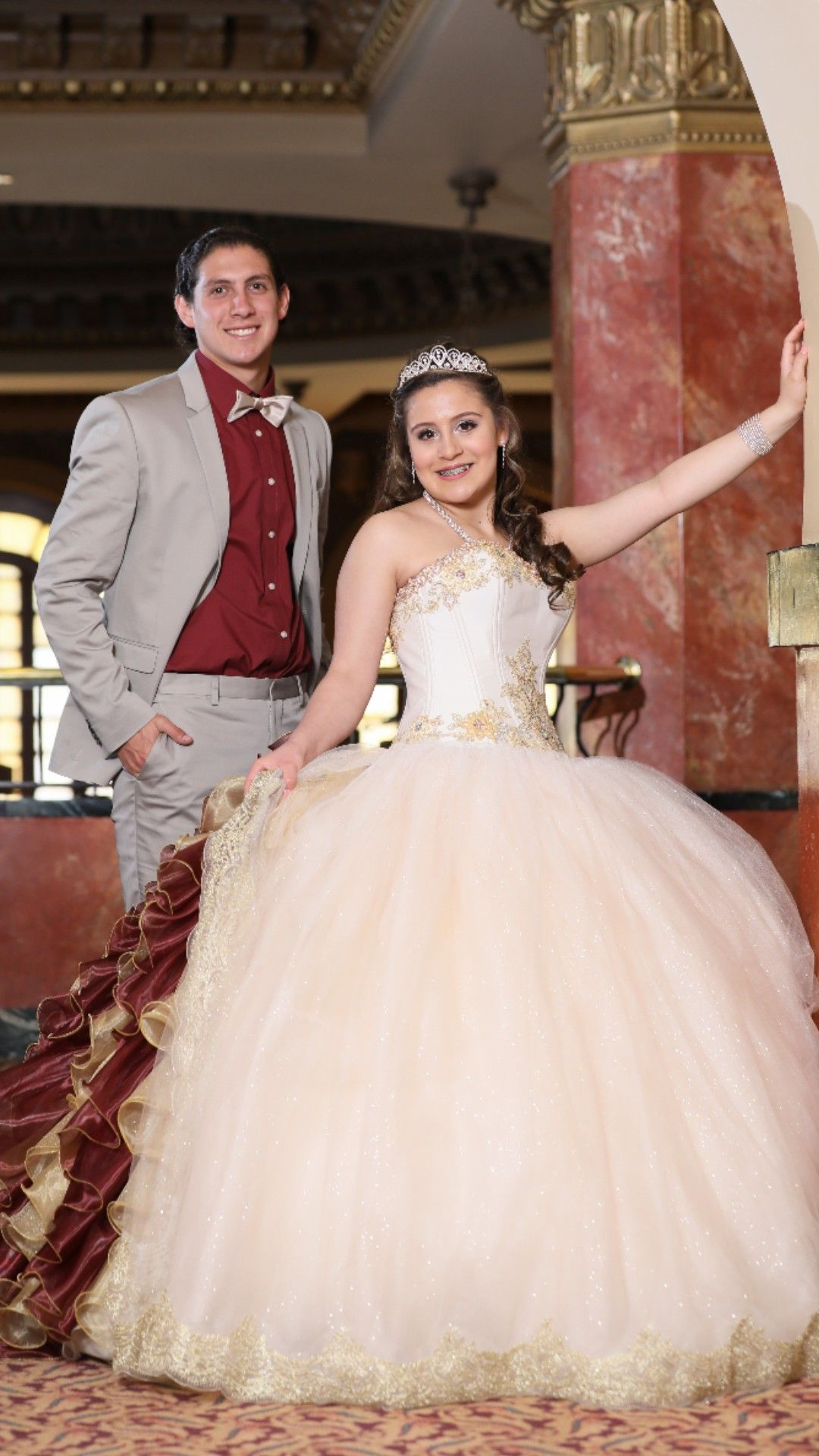 33fdaff7fa9 Maroon and Gold Quinceanera Dress. Burgundy and Gold Quinceanera Dress