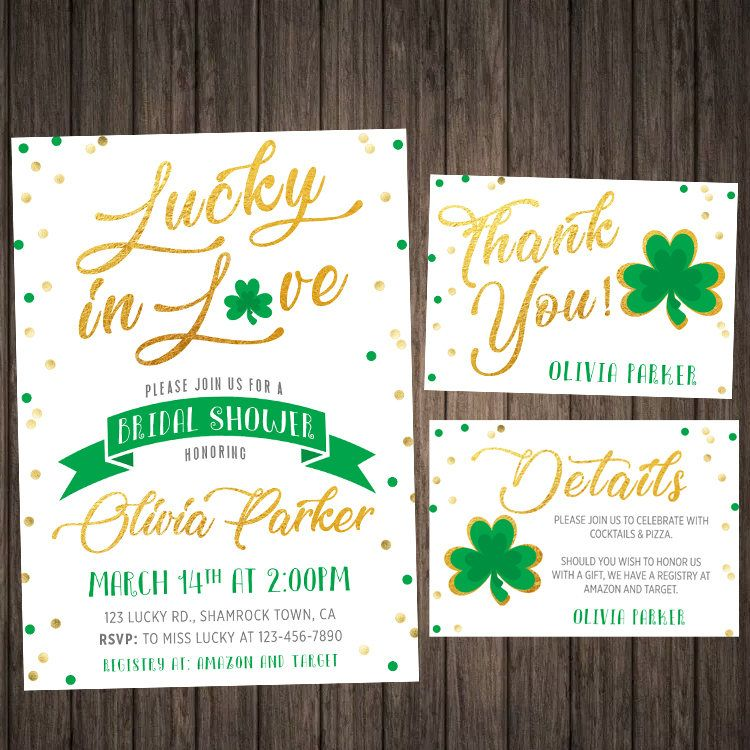 a001177b2f9 St Patricks Day Bridal Shower Invitation Clover Lucky In Love Shamrock  Theme St Patrick s Day Invite Wedding Bachelorette Party Printable