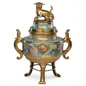 CHINESE BRASS AND CLOISONNE CENSER : Lot 2343