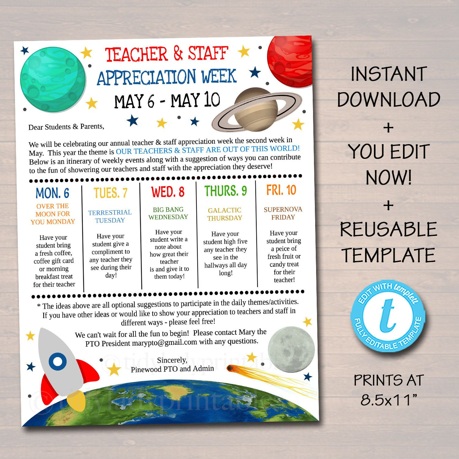Editable Space Theme Teacher Appreciation Staff Invitation Newsletter Printable Appreciation Week Events Take Home Flyer Instant Download In 2021 Teacher Appreciation Themes Teacher Appreciation Week Themes Space Teacher Appreciation