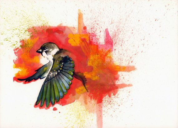 Original Watercolor Painting Sparrow Flying Sparrow with ...