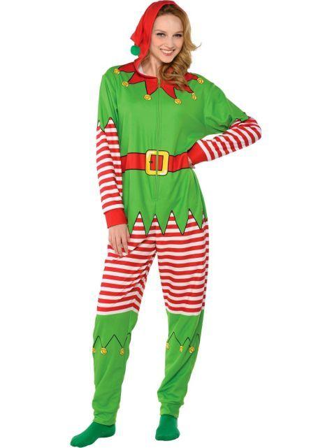 adult elf one piece pajama party city - Elf Christmas Pajamas