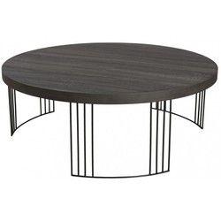 d9da99688424c Table basse ronde rétro bois et pieds en arc de cercle métal noir  95X95X35cm LANDAISE PIER