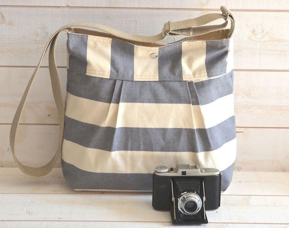 Cross Body / Diaper Bag with Nautical Stripes & French Pleats in ...