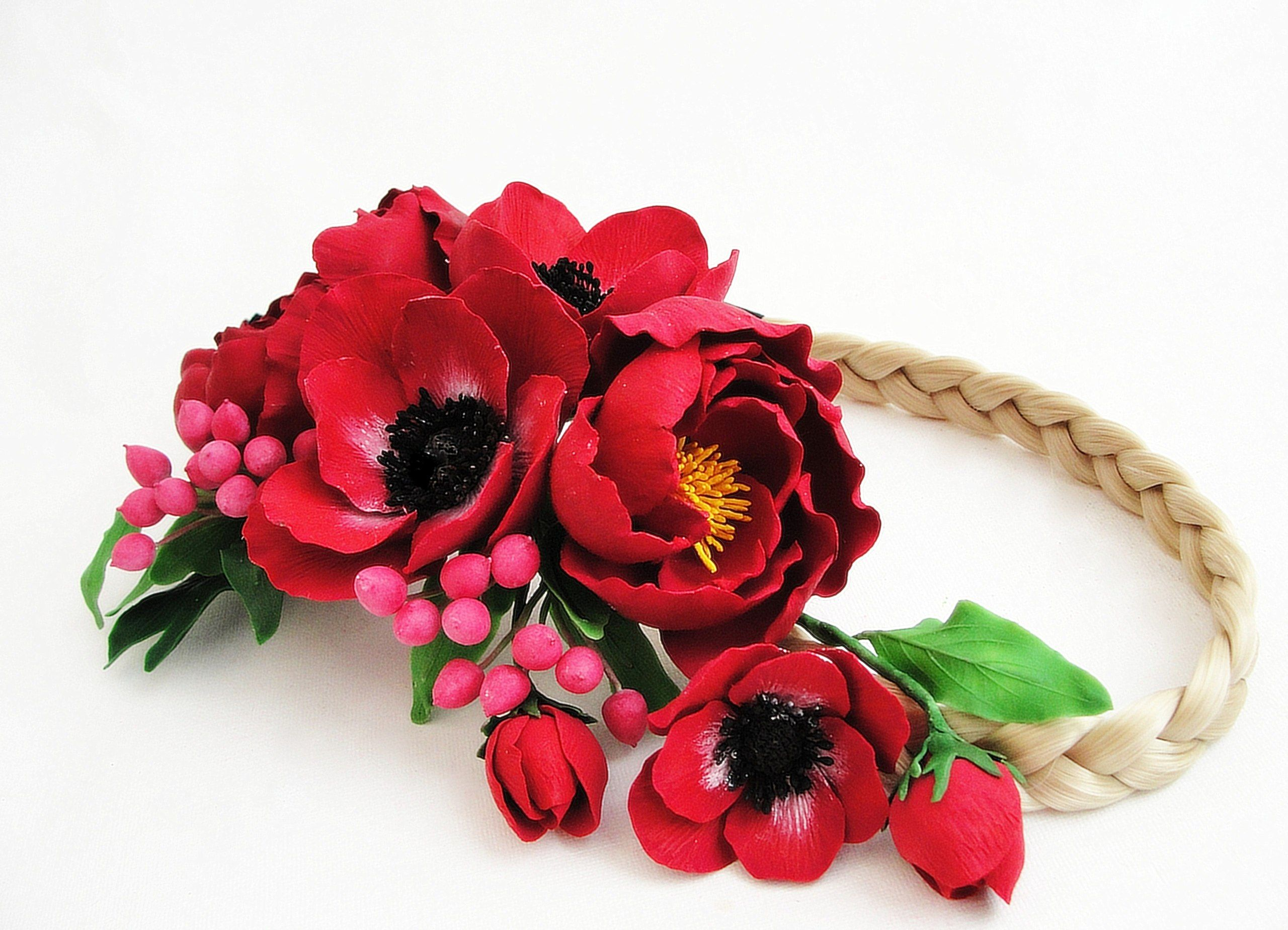 Flowers headband. Handmade. All flowers are made completely by hand from Claycraft by deco - air dry clay that is soft, durable and lightweight, non toxic. Keep it up from water or liquids. The flowers requires careful handling.