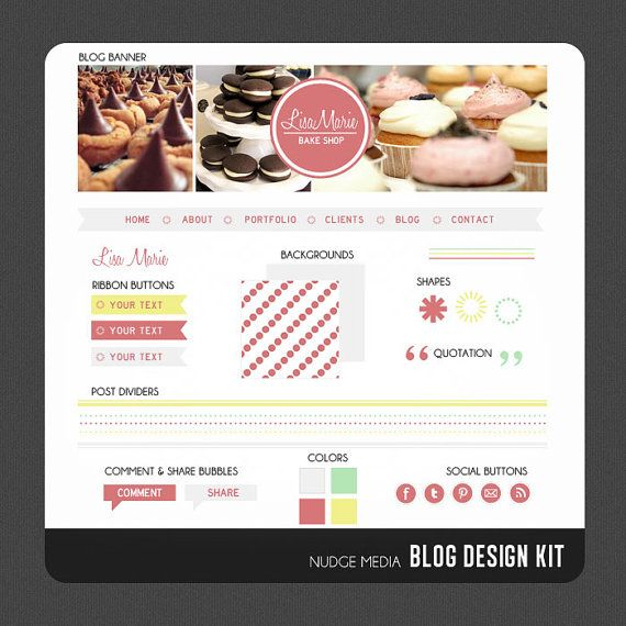 bakery blog design kit from nudge media designs so fun blogdesign rh pinterest com