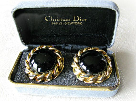 Black and Gold Christian Dior Earrings Round Black Glass Cabochon