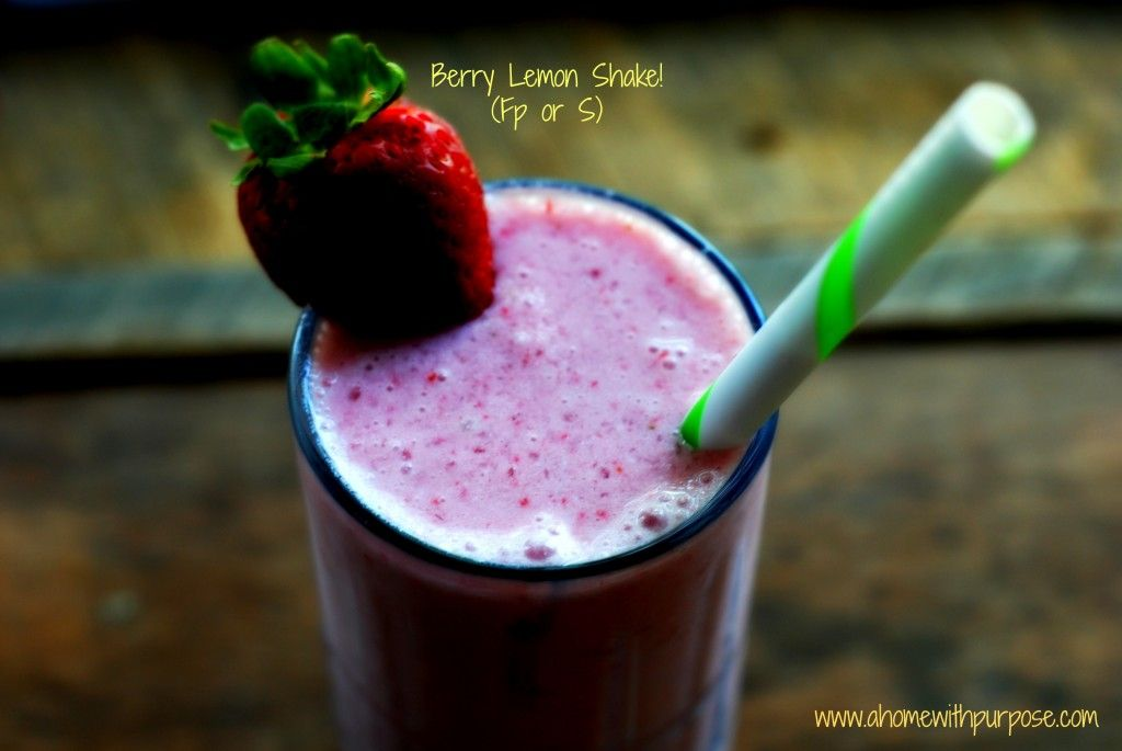Berry Lemon Shake! (FP or S) Creamy, delicious and good for you!  Come visit me at www.ahomewithpurpose.com for more Trim Healthy Mama recipes that are low carb and sugar free!